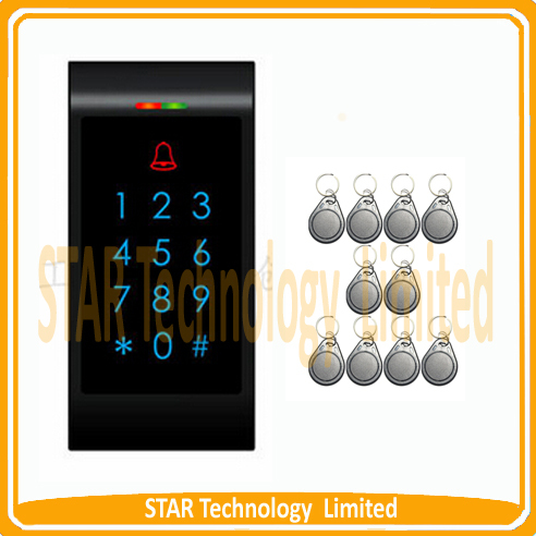 ФОТО Free Shipping  RFID Entry Door Access Control System Doorbell Button + 10 Keys(black keyfobs)