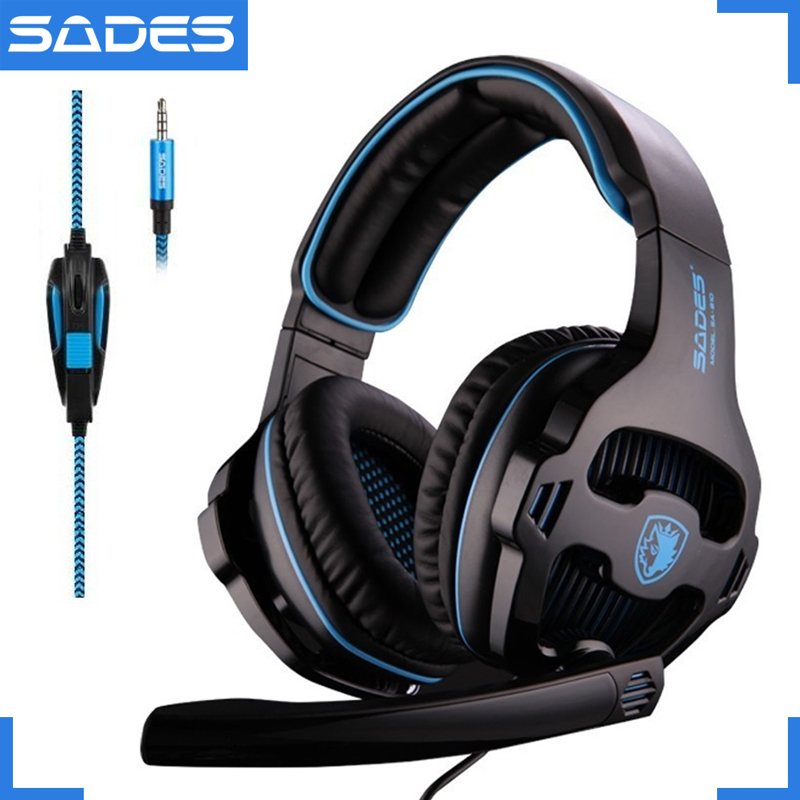 SADES SA-810 3.5mm Wired Gaming Headset Game Headphones Over Ear with Microphone for PC Laptop PS4 Mobile Phone Gamer sades wings headphones 3 5mm phone call and music earphone portable in ear gaming headset for pc xbox one ps4