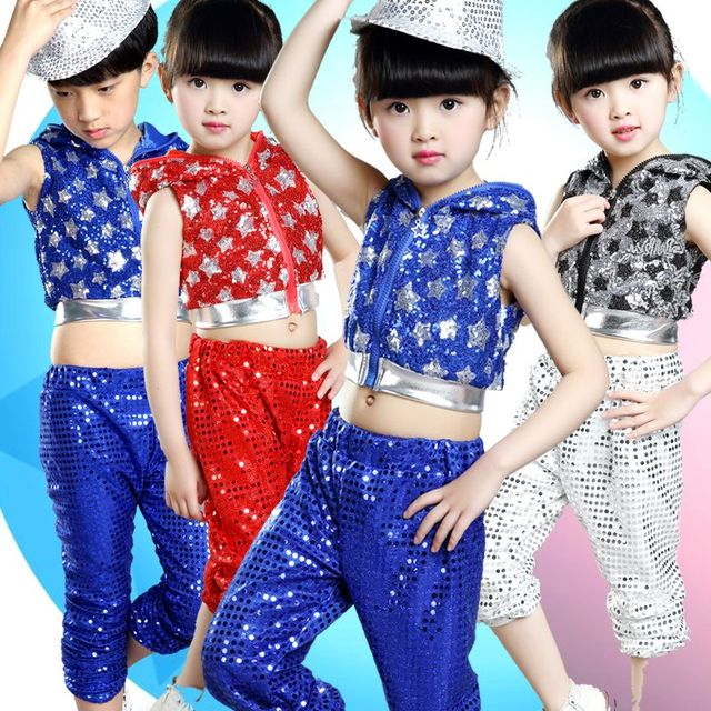 7ad13d620 20pcs lot Free Shipping Sequin Children Hip Hop Dance Costumes Girls ...