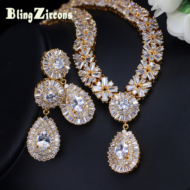 BlingZircons Stunning Dubai Gold Color Cubic Zirconia Heavy