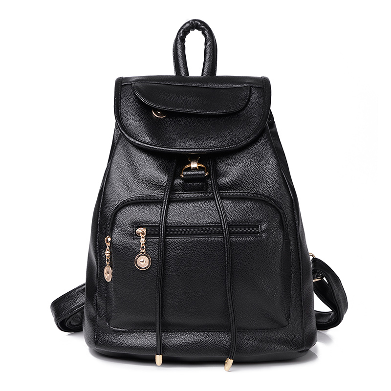 new women backpack famous brands shoulders female travel bags high quality mujer vintage pu leather with soft black school bag