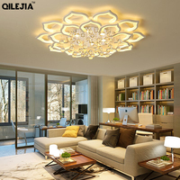 Led crystal chandeliers Acrylic Chandelier Lights For Living Room Bedroom with remote control Home dimmable Lighting Fixtures de|Chandeliers| |  -