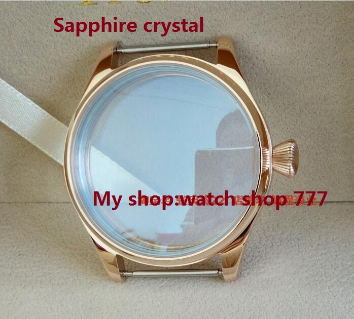 Sapphire crystal parnis 44MM stainless steel watch case fit 6497/6498  Mechanical Hand Wind movement PVD Rose gold 08a elephone w2 bluetooth 4 0 smart watch rhonda 762 movement sapphire crystal glass ip53 fit tracker for smartphone