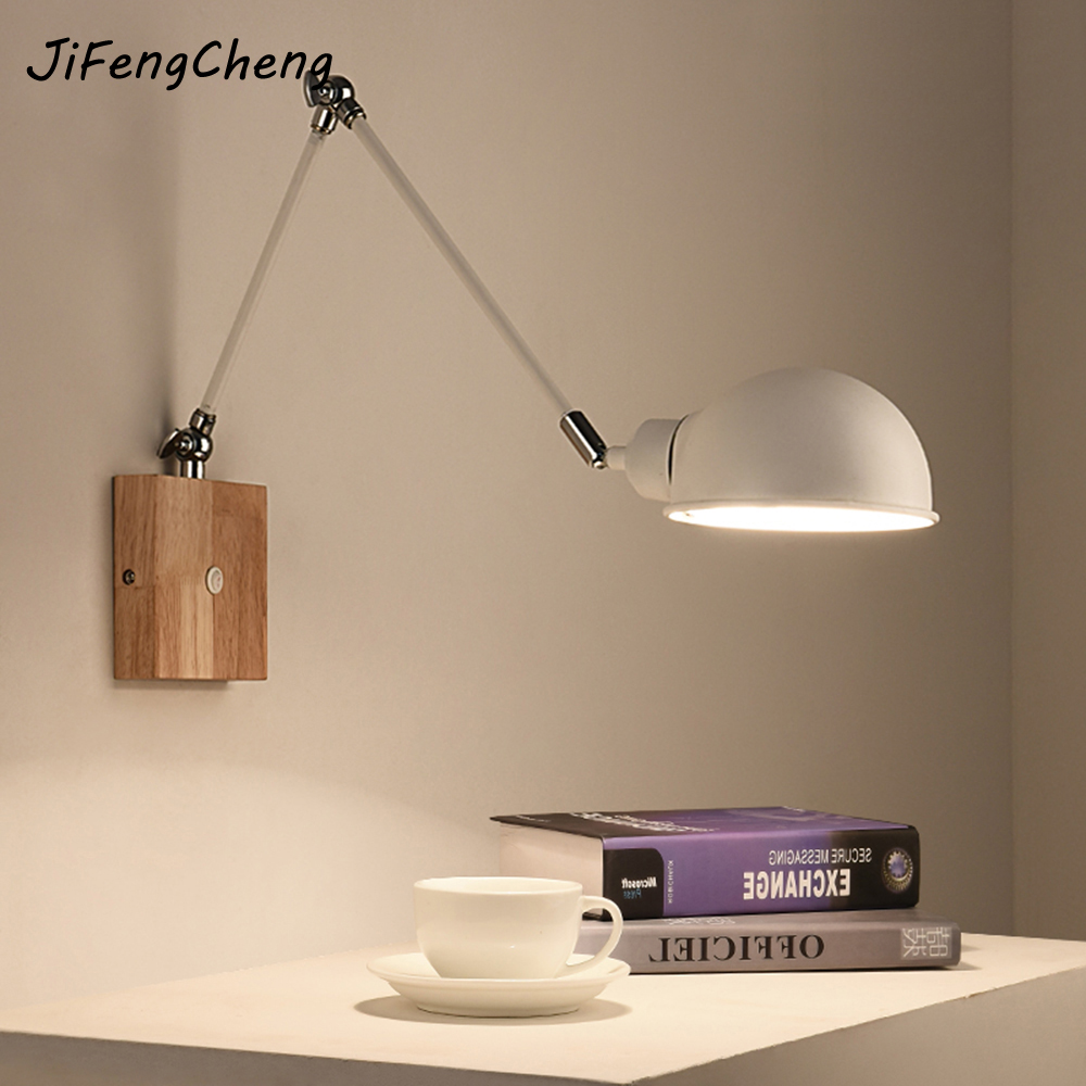 JIFENGCHENG Modern Minimalist Living Room Bedroom Bedside Lamp LED Solid Wood Study Metal Long Arm Wall Lamp Luminaria north european style retro minimalist modern industrial wood desk lamp bedroom study desk lamp bedside lamp