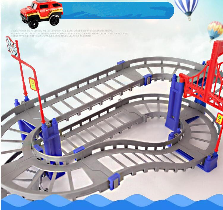 88pcs Multilayer Electric Rail Vehicle Car with Llight Train Track Car Racing Track Toy Educational Puzzle Toy for Children on stock new super thomas small train electric track car boy puzzle large car racing for children s christmas gift kids toys