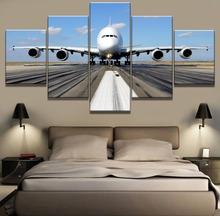 5 Piece HD Print Painting Large Airplane Poster Cuadros Landscape Canvas Wall Art Home Decor For Living Room Picture