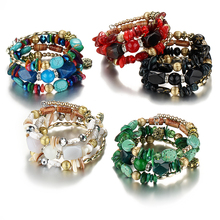 Bohemian Beads Crystal Charms Bracelets For Women Ethnic Tibet Multilayer Imitation Natural Stone Bracelets &Bangles Gift