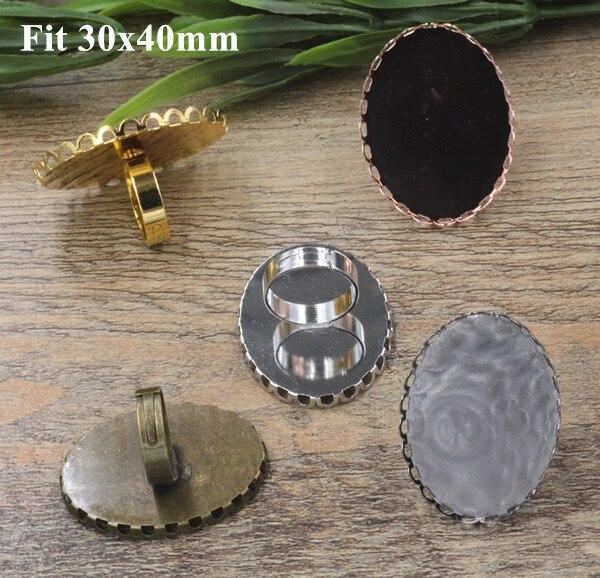 cd453ea2f1e0 20 unids lote 6 colores cobre anillo ajustes 30x40mm oval Encaje joyería  del camafeo en blanco Anillos haciendo accesorio resultados b2335
