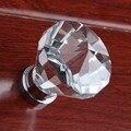 40mm moda de lujo moderna k9 cristal tranparent ganar puerta del armario maneja perillas dresser manijas perilla de la puerta de madera de cristal de plata