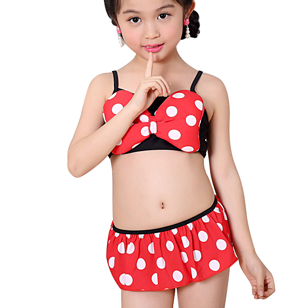 0-5 years baby girls swimwear kids Dot Printed biquini swimsuit children Cute Bowknot Beachwear 2018 New summer bathing suit