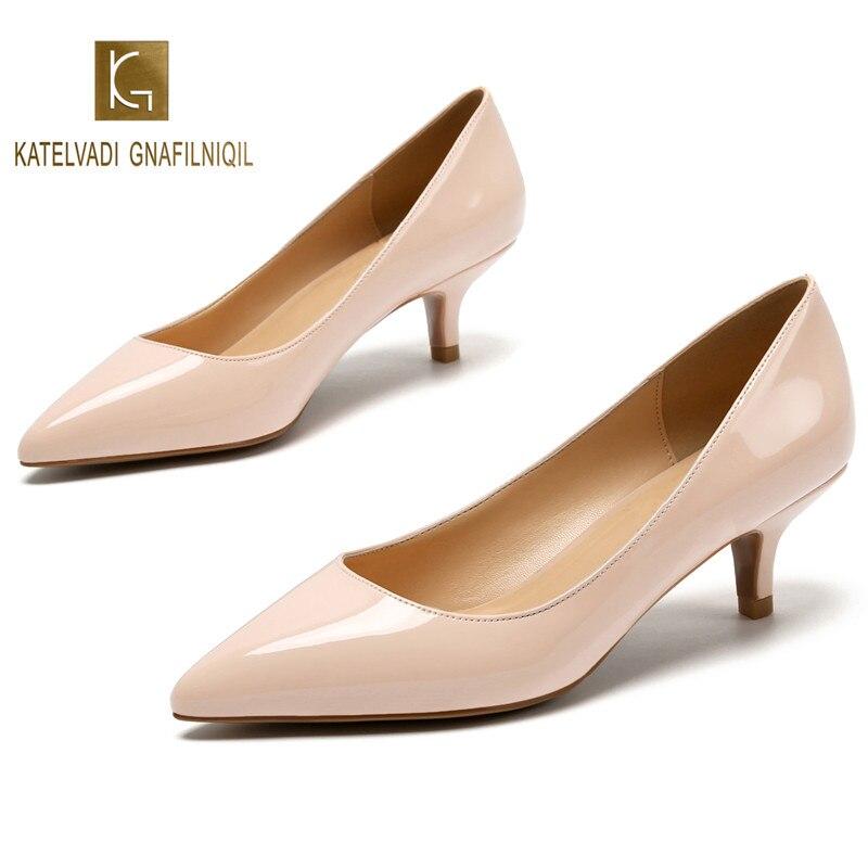 5 CM Saltos Sapatos Nude Saltos de Casamento Das Mulheres Sapatas da Mola Senhoras Bombas Bege Couro de Patente Das Mulheres Sapatos Dedo Apontado Alta saltos K-224
