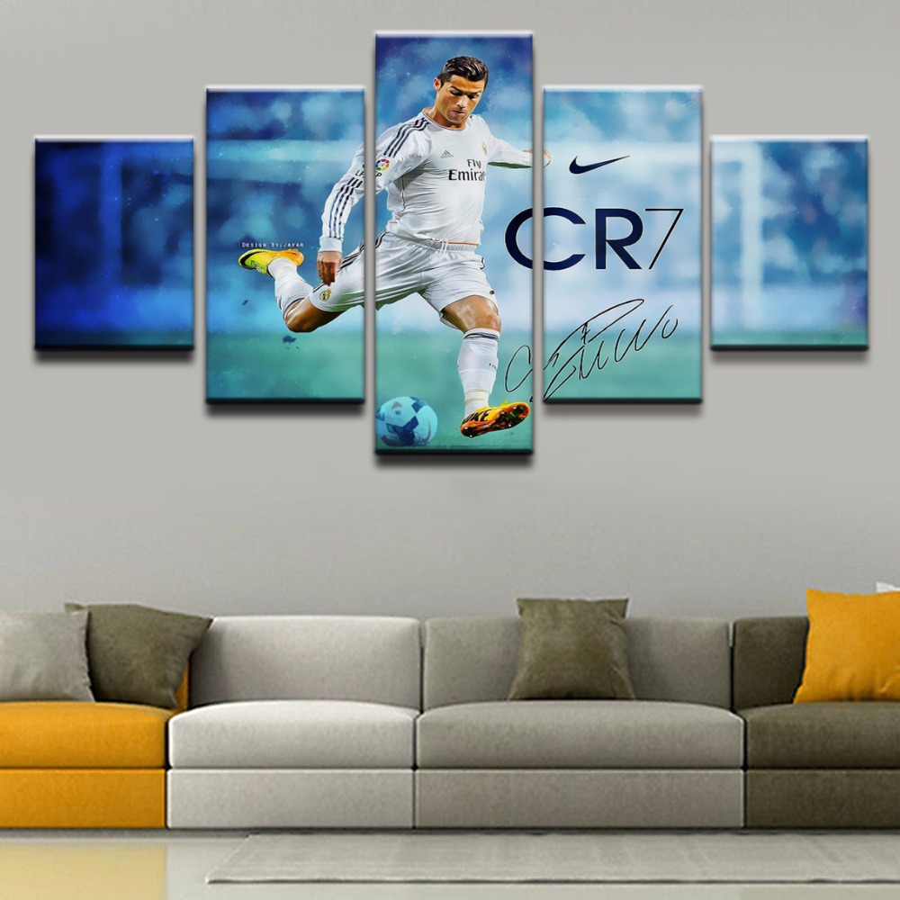 Canvas Prints Paintings Framework For Living Room Wall Art 5 Piece Soccer Player Poster Style Sport Abstract Pictures Home Decor