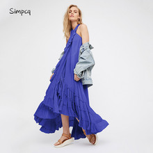Simpcq Summer Women's Dress Pleated Ankle Length Promotion Vestidos Plus Size Maxi Dress Solid Charm Women Backless Party Dress