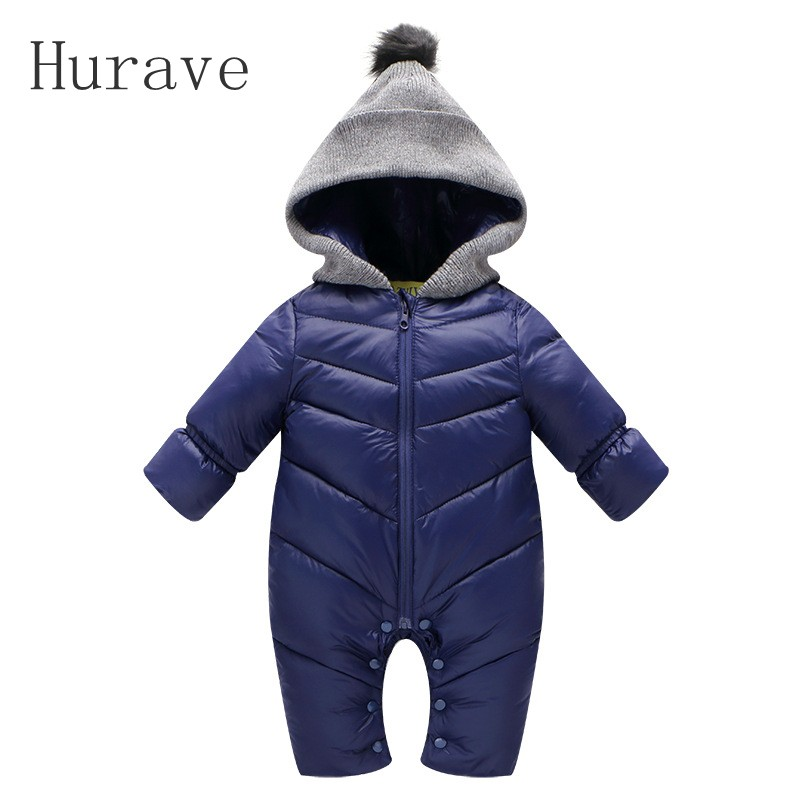 Hurave High Quality Baby Duck Down 2017 Baby Rompers Winter Baby Girl Boys Crawling Clothes Kid