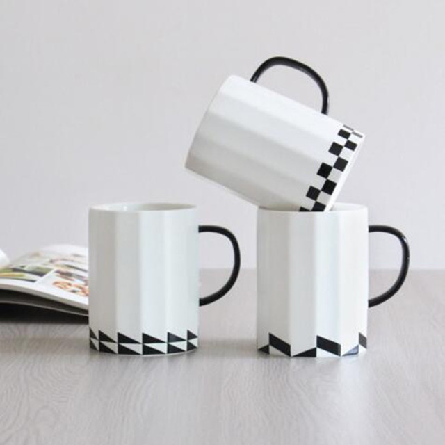 office coffee mugs. Bone Cafe Coffee Cup Black Geometry Simple Office Handgrip Ceramic Mugs