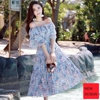 original 2018 new brand summer style boho sweet butterfly sleeve romantic slash neck chiffon floral long dress women wholesale