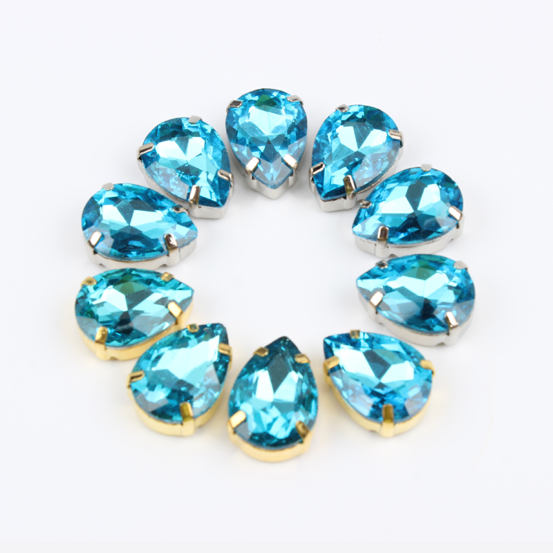 Aquamarine shinning water Drop Sew On gold/silver claw crystal glass Rhinestone apply to Clothing Decoration for DIY