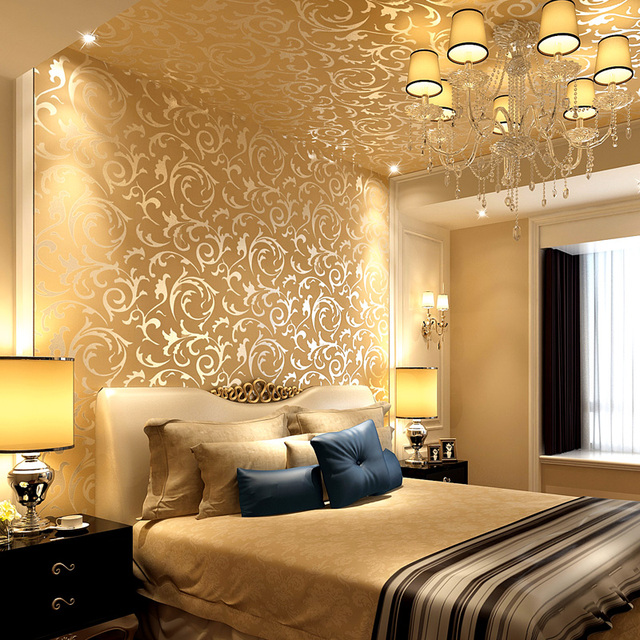 0.53X10 Meter Luxury 3D Gold Flowers Pattern Non Woven Wallpaper