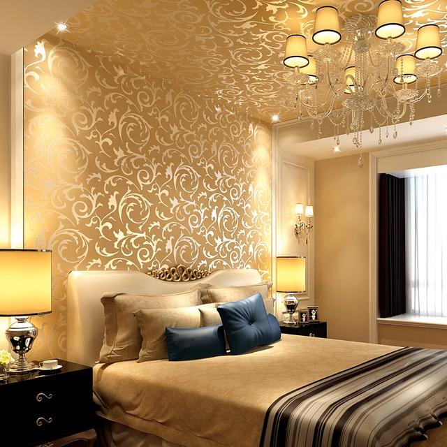 0 53x10 meter luxus 3d gold blumen muster vliestapete wohnung wohnzimmer schlafzimmer nacht. Black Bedroom Furniture Sets. Home Design Ideas