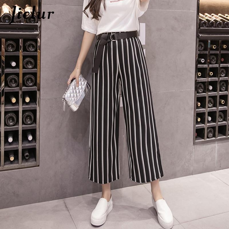 Jielur Korean Fashion Polka Dots Striped   Pants   for Women S-XL Belt   Wide     Leg     Pants   Femme Hipster Black   Pants   Summer 2019 Dropship