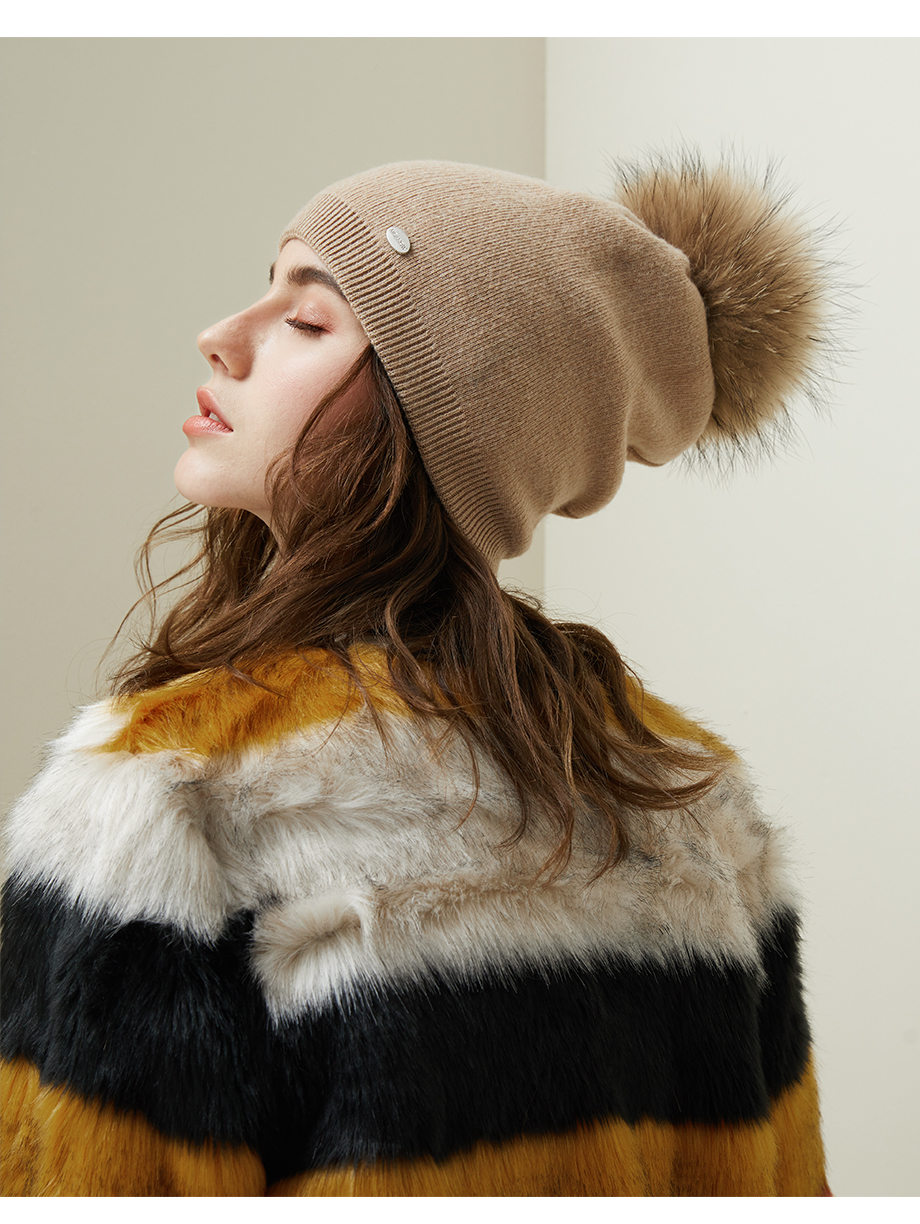 Autumn Winter Beanies Hat For Women Knitted Wool Skullies Casual Cap With Real Raccoon Fox Fur Pompom Solid Colors Ski Beanie (10)