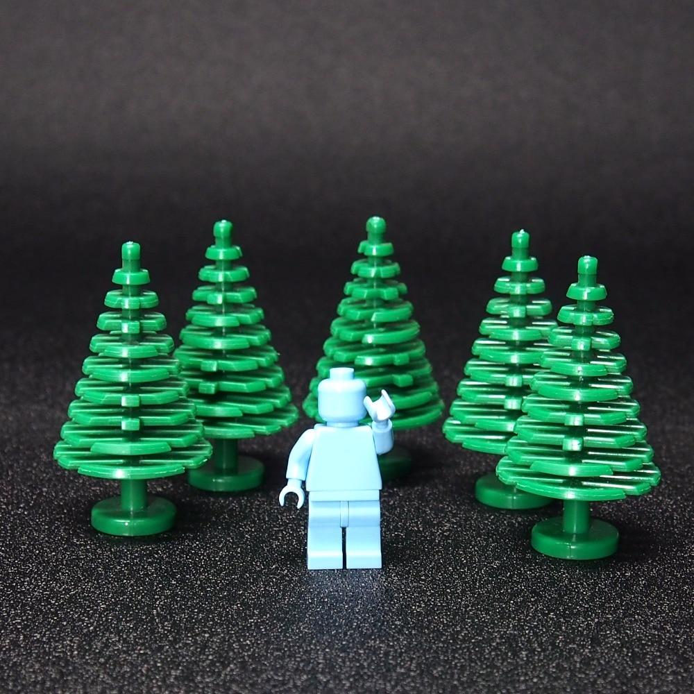 10pcs MOC Christmas tree Green plant Building Blocks Mini Trees Plants DIY Blocks Baseplate Small Bricks