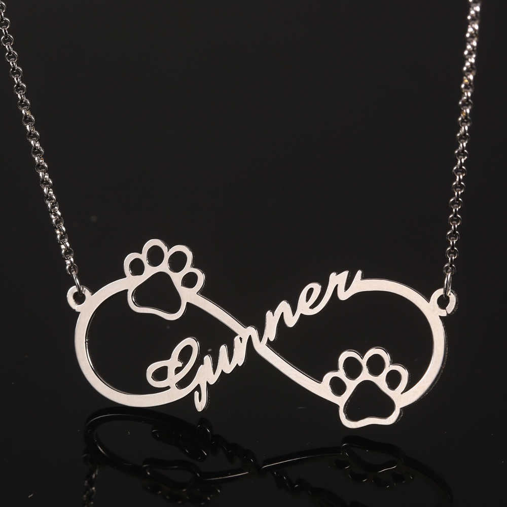 925 Silver Infinity Personalized Name Necklace Women Necklaces & Pendants Dog Footprint Custom Name Necklace Gift Dropshipping