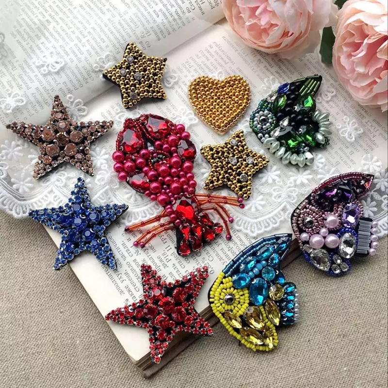 Handmade Pearl Fish Lobster Star Beaded Patches Sew On Sequin Patch For Clothing Beading Applique Cute Patch