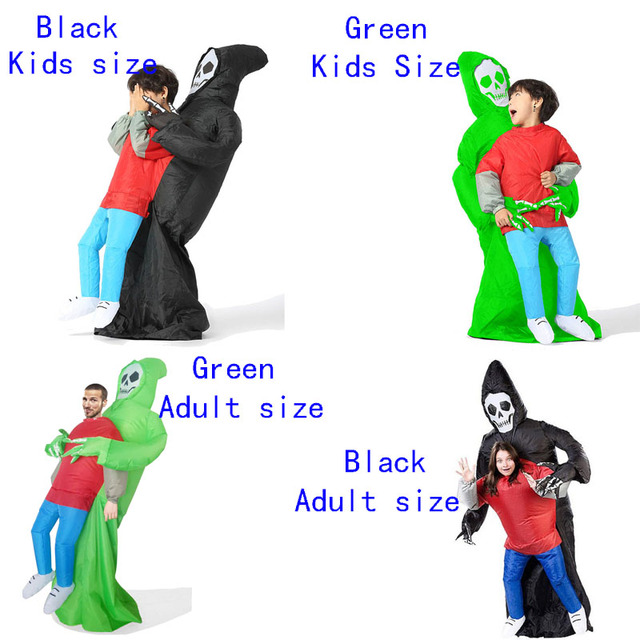 Disfraz inflable de la muerte para niños y adultos disfraz de Halloween, Esqueleto, fantasma