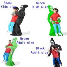 เด็กInflatable Grim Reaperเครื่องแต่งกายสำหรับผู้ใหญ่คอสเพลย์น่ากลัวฮาโลวีนโครงกระดูกเด็กเครื่องแต่งกายGhost