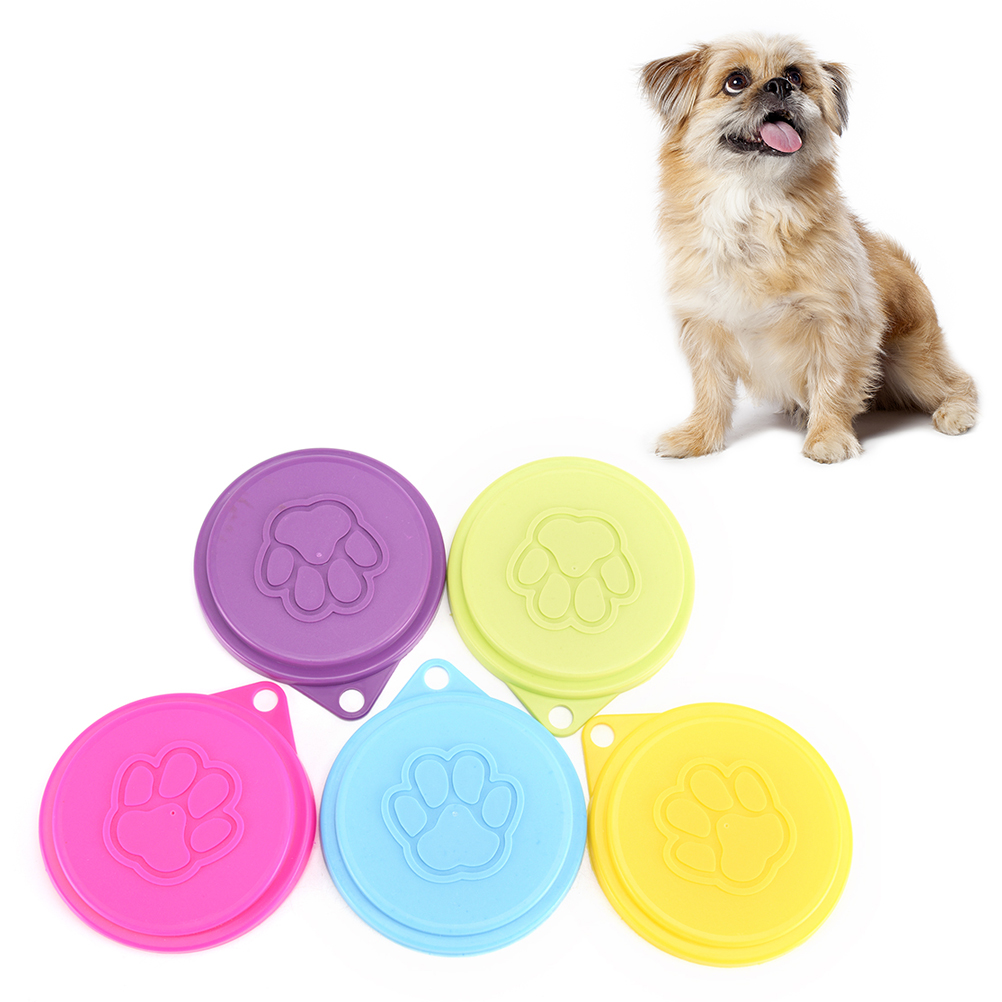 5 Colors Pet Food Can Cover Lid Dog Cat Pet Tin Plastic Reusable Storage Cap Top 88mm Cat Puppy Food Can Lid Cover