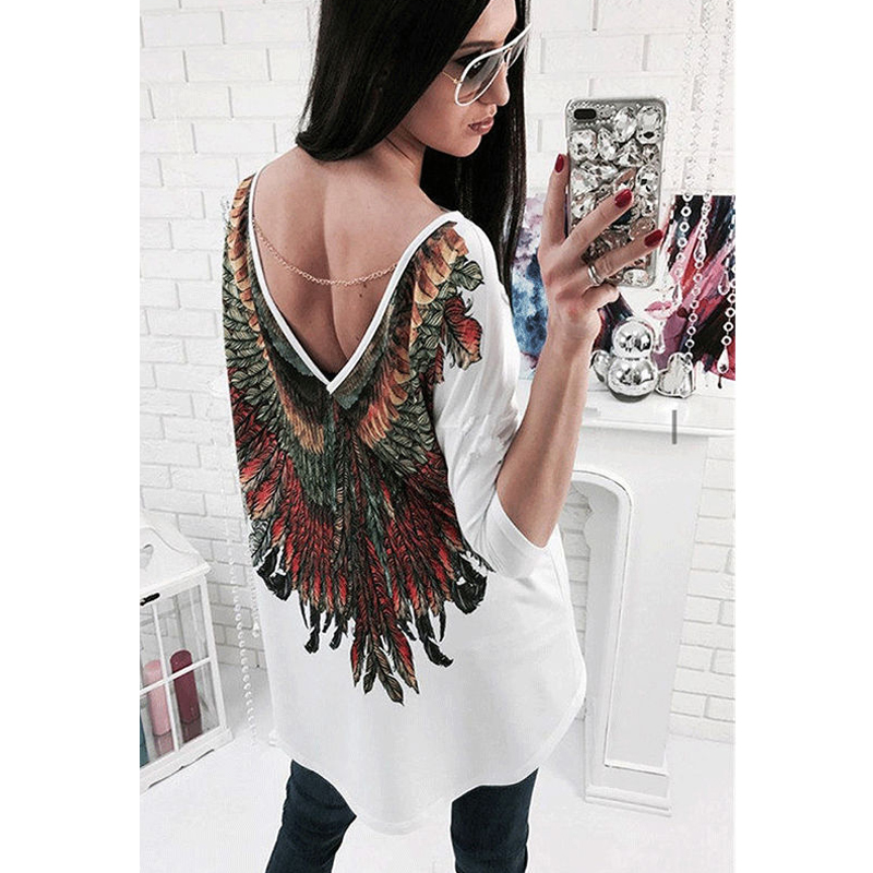 2017 Women Feather Print T shirt Harajuku Sexy Backless Deep V Wings Long Sleeve Loose Tees Top Casual White Black T-shirt Blusa blusa sexi animal print