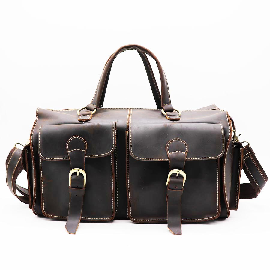 "Brand Brand New Vintage Genuine Crazy Horse Cow Leather Handbag 14"" Travel Duffle Men"