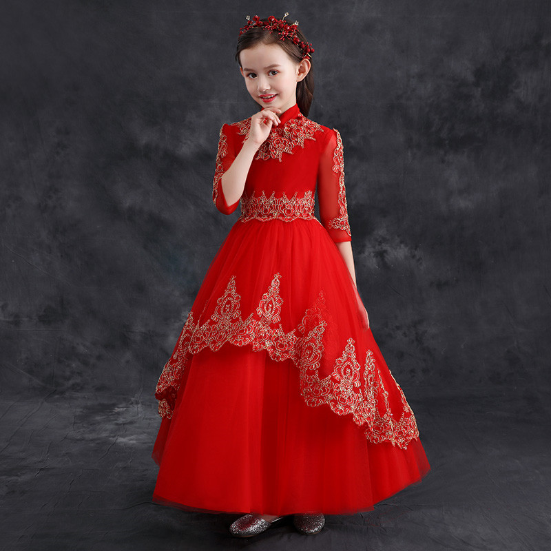 2018 New Chinese Style Retro Standing-collar Children Girls Birthday Wedding Party Embroidery Lace Long Dress Teens Kids Dress vintage chinese style slim long dress 2016 summer new fashion embroidery ankle length dress for women