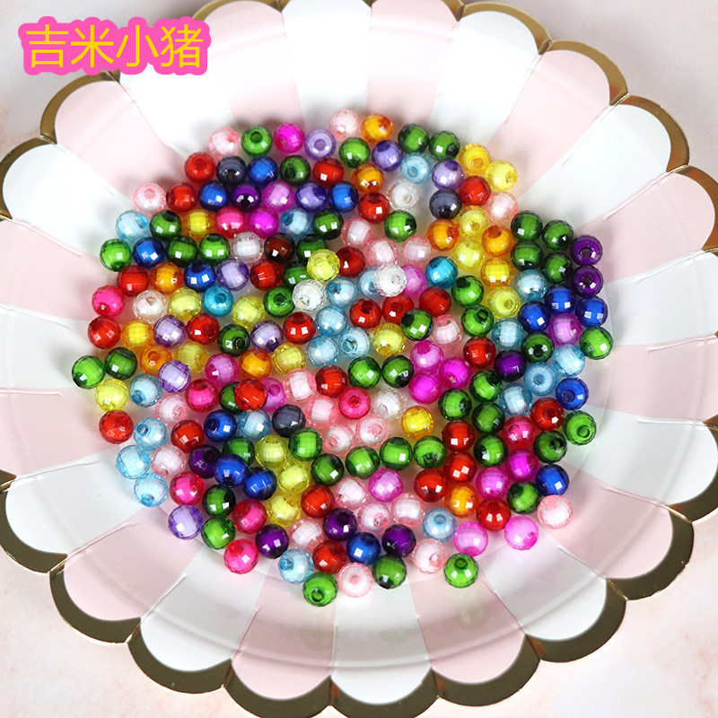 50pcs/lot Round Acrylic Beads Toys For Children Girl Handmade DIY Bracelet Necklace Colorful Kids Crystal Bead Diy Gift
