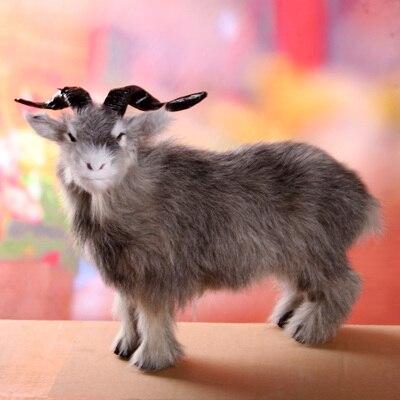 Gros jouet de mouton simulation polyéthylène & fourrures chèvre gris modèle poupée cadeau environ 40x30 cm 1689