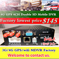 remote monitoring positioning autotruck/van/ship/truck/bus mdvr 4g gps 4ch sd mdvr card hd double storage mobile dvr factory