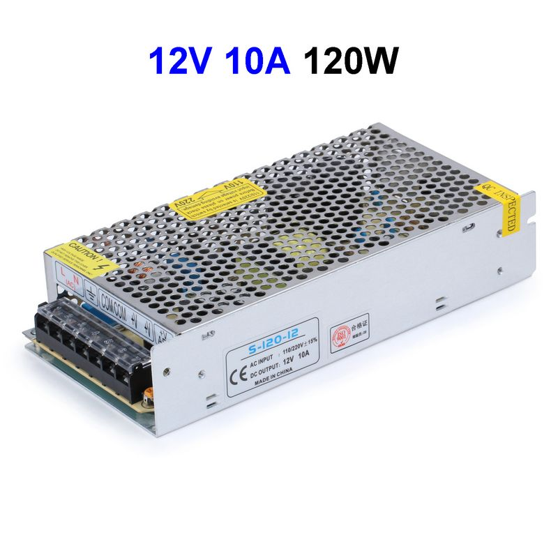 10pcs CCTV Cameras DC12V 10A 120W Switching Power Supply Adapter Driver Transformer For LED Strip Light aluminum dc 12v 29a 350w universal switching power supply adapter led driver for cctv cameras led strips home appliances