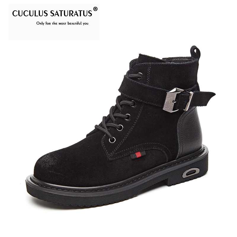 Cuculus Motorcycle Boots Women Ankle Boots 2019 New Autumn Early Winter Cow Suede Genuine Leather Black
