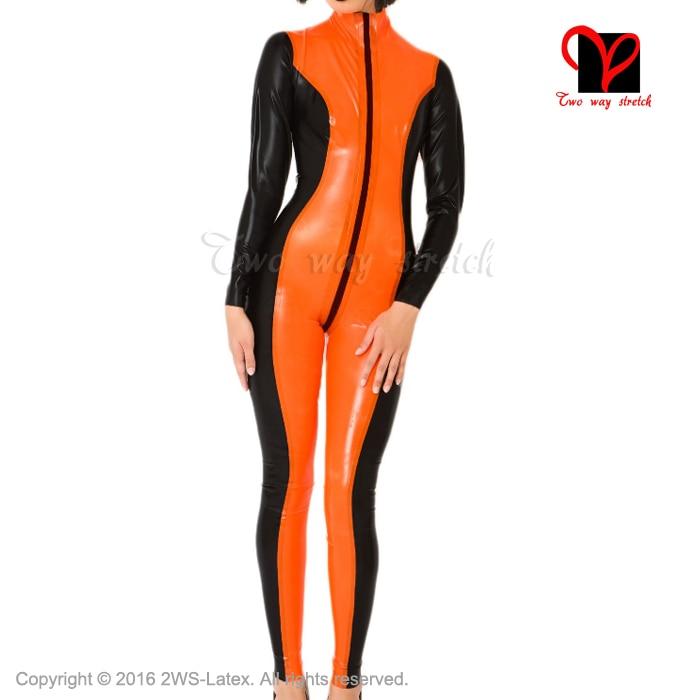 Buy BLack Orange Sexy Latex Catsuit front crotch Zipper Rubber bodysuit  Jumpsuit overall zentai tights body suit XXXL LT-037