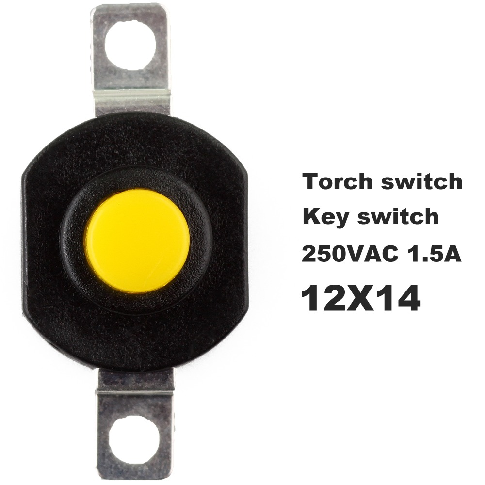 50 PCS Open Close Key Switch Flashlight Switch 2 Foot Button Switch Height 9.4 MM on the open shanghai wing star ship switch kcd6 21n f ip65 waterproof switch 6a 4 foot red 220v