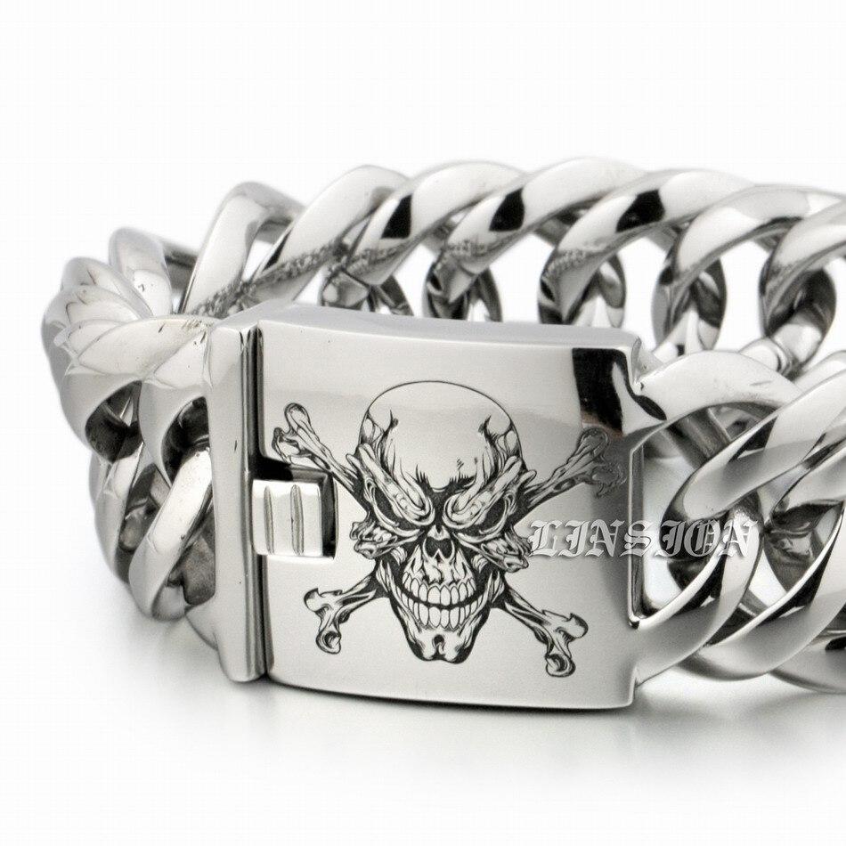 LINSION profonde Laser gravé Pirate crâne énorme lourd en acier inoxydable 316L hommes garçons motard Rock Punk Bracelet 5E117