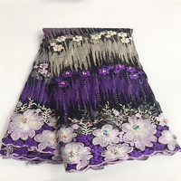 Hotsell French 3d Lace With Beads And Stones Latest Purple African Lace Fabric High Quality Beaded Lace Fabric JY31-2