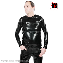 Rubber Latex T Shirt long sleeves round collar Pull On Top undershirt plus size Tee Sexy