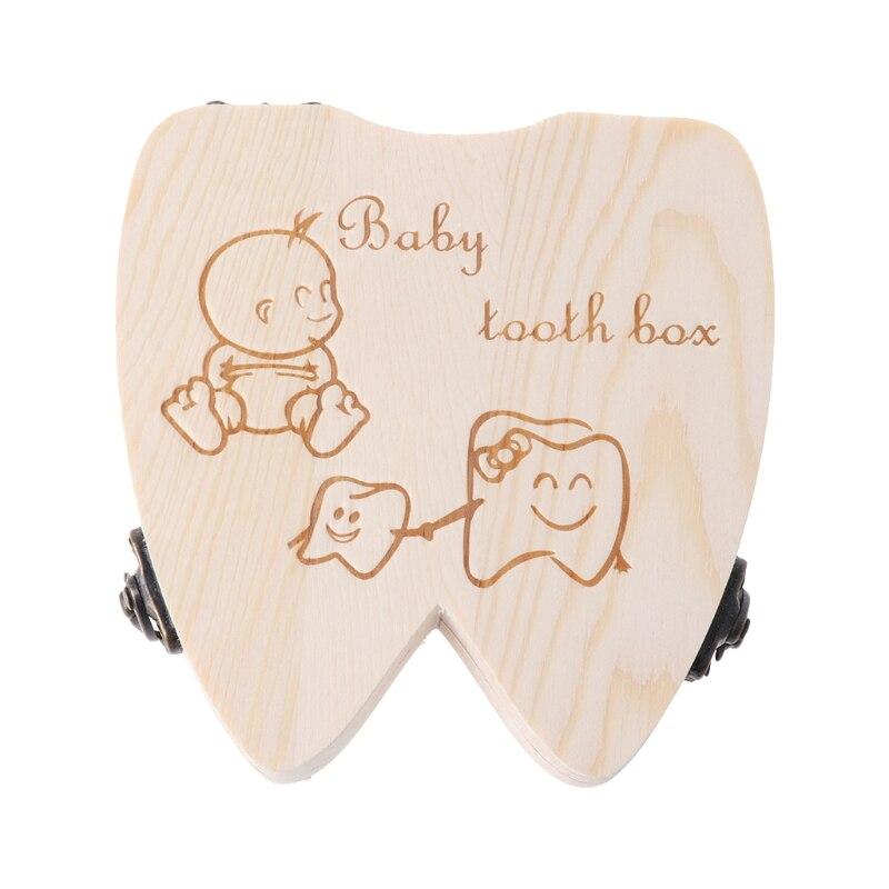 For Commemorating MemoryBaby Tooth Box Wooden Milk Teeth Organizer Storage Boys Girls Save Souvenir Case