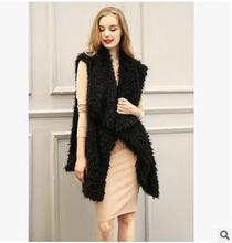New Womens Leather Grass Vests Solid Color Long Section Turn Down Collar Casual Fur Waistcoats Faux Fur Vest Coats S/Xl J1652-11