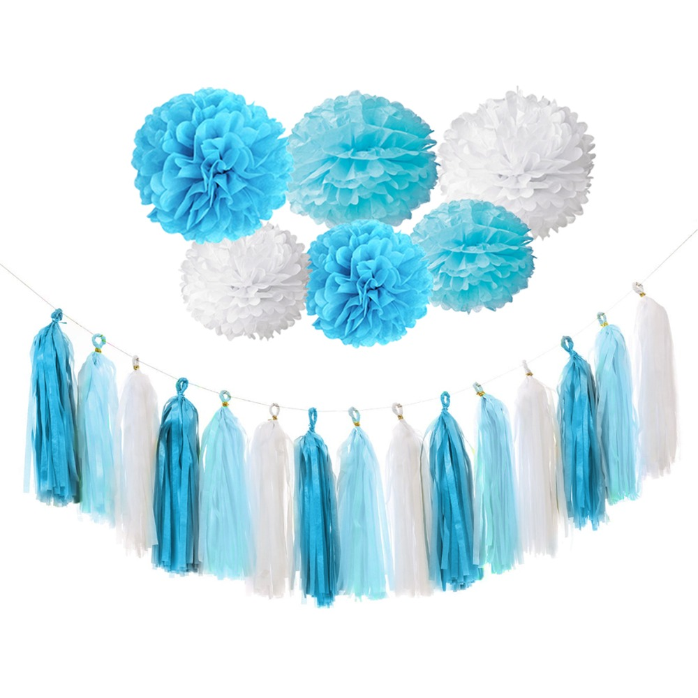 FENGRISE Baby Shower Decoration Kits Blue Pink Pom Poms Its A Boy ...