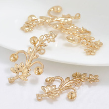 6PCS 33x19MM 24K Gold Color Plated Brass Flower Charm Pendants for Jewelry Making Finding Accessories