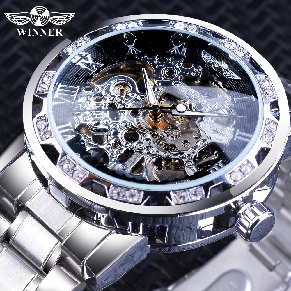 Winner Luxury Diamond Design Black Skeleton Clock Silver Stainless Steel Mens Mechanical Watches Top Brand Relogio MasculinoWinner Luxury Diamond Design Black Skeleton Clock Silver Stainless Steel Mens Mechanical Watches Top Brand Relogio Masculino