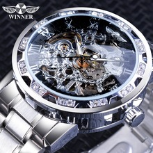 49f3178db رفاهية الماس تصميم الأسود الهيكل العظمي ساعة الفضة الفولاذ المقاوم للصدأ  رجالي ساعات آلية أعلى العلامة